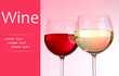 Two glasses with red and white wine on pink background