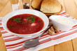 Delicious borsch on table close-up