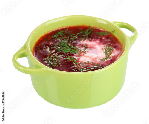 Delicious borsch isolated on white