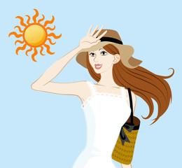 UV care image,woman and sun