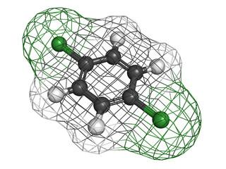 1,4-dichlorobenzene (p-DCB, para-dichlorobenzene) mothball molec