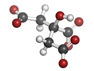 Citric acid, molecular model