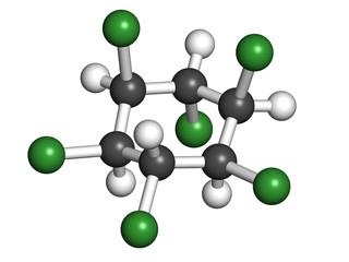Lindane pesticide, molecular model