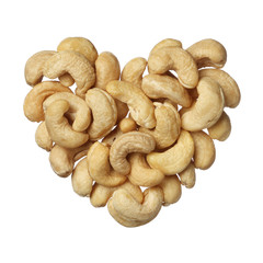 Cashew nuts heart isolated on white background