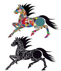 illustrazione di cavallo che corre composto da colori