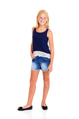 pre teen girl full length portrait