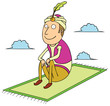 sitting on flying carpet