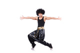 Dancer in afro wig isolated on white