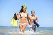 Happy couple beach summer vacation travel fun