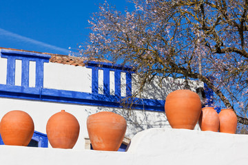 Clay pots stand on white pottery wall in Portugal