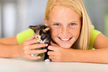preteen girl with pet friend