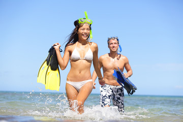 Happy couple beach summer vacation travel fun