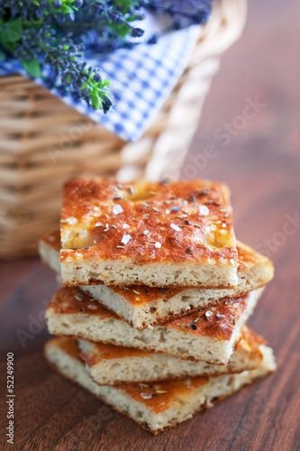 Focaccia from bran with avender, rosemary and sea salt