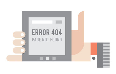 Error 404 Page not found error on the screen of internet tablet