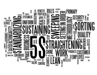 """5S"" Tag Cloud (lean organization methodology smart process)"