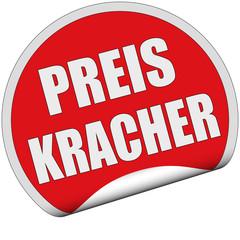 Sticker rot rund cu PREISKRACHER