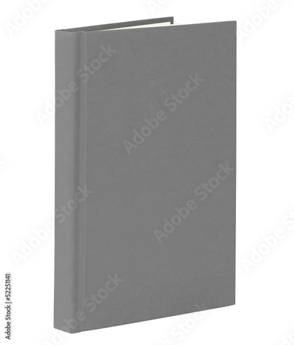 Gray book standing isolated on white with clipping path.