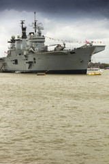 Aircraft carrier on Thames