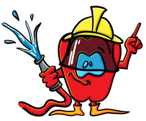 Funny cartoon pepper is the firefighter