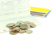 Coins on account passbook and many account passbook background ,