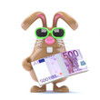 Chocolate bunny has a wad of Euro bank notes