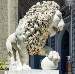 Marble lion sculpture in Vorontsov Palace, Crimea, Ukraine.