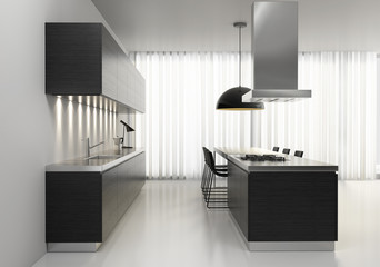 Contemporary minimal dark wood kitchen with black plastic chairs