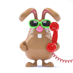 Chocolate bunny mans the helpdesk