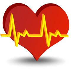 Ilustração - Coração com sinais vitais