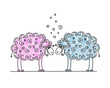 Funny sheeps in love, sketch for your design