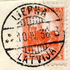 Canveled latvian stamp