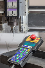 engraving machine for material processing with a remote control