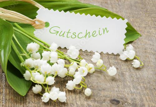 """canvas print picture Maiglöckchen mit Schild """"Gutschein"""""""