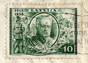 "Canceled latvian stamp ""General Balodis"""