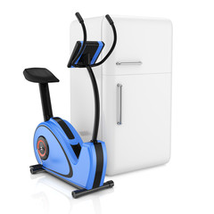 exercise bike and  refrigerator