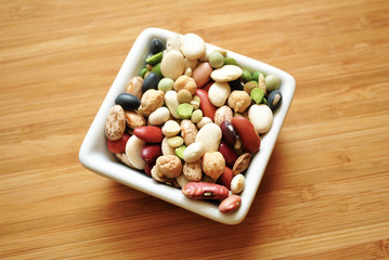 Dried Beans in a Square Bowl