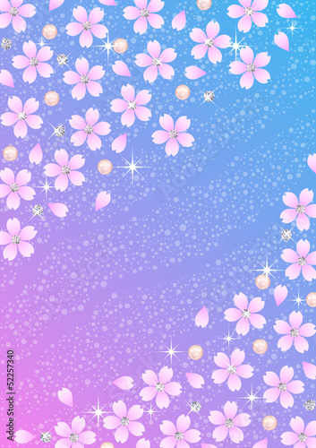 Background pattern of Japanese cherry blossoms and diamond