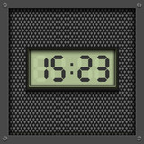 Digital watch on grey, vector pattern background.