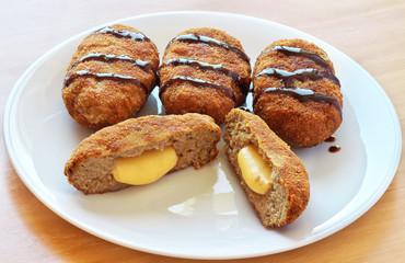 Menchi-katsu with cheese. Japanese Dish.