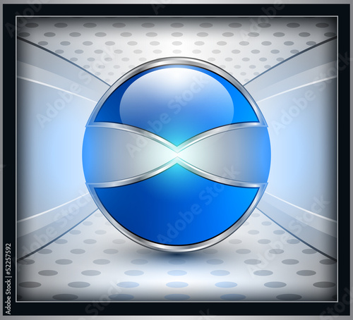 Abstract background, 3D blue sphere on grey