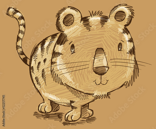 Tiger Kitten Cat Sketch Doodle Illustration Art