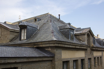 slate roof with skylights old