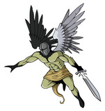 Angel of death with sword, flying, vector illustration