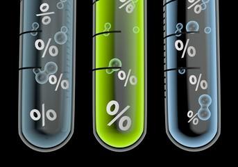 Illustration of a medical percent symbol  in three test glasses
