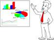 Businessman, graphs, statistics, election results