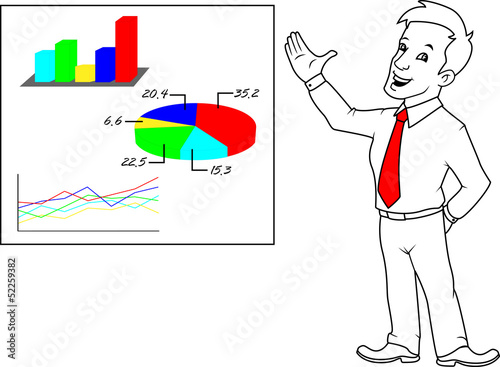 Businessman, graphs, statistics, election results