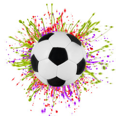 Colorful splashing with soccer ball