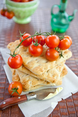 Flatbread and ripe tomatoes