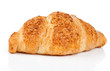 Fresh and tasty croissant with nut cream over white background