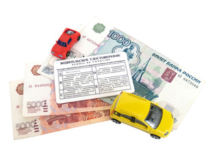 Driver's license, Russian money and models of cars